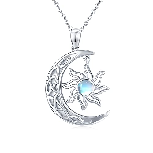 Moon and Sun Celtic Knot Necklace, Moon Necklace Sterling Silver Rainbow Moonstone Necklace Crescent Moon and Sun Pendant Moonstone Unisex Jewelry Gift Pendant for Women Men Teen Girlfriend