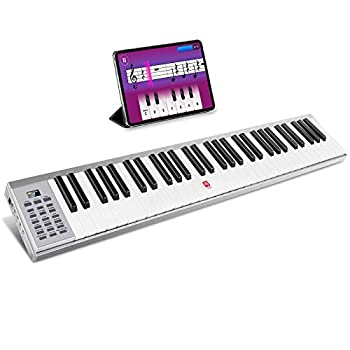 Vangoa Portable Piano Keyboard 61 Key Slim Electric Piano with Touch-response Full-size Keys Lightweight Aluminum Shell with Sustain Pedal for Beginner Adults Silver