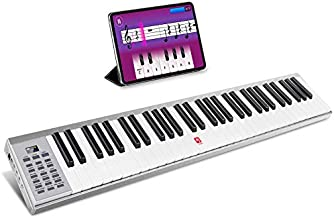 Vangoa Piano Keyboard, 61 Key Portable Electric Piano with Touch-response Full-size Keys, Lightweight Alumium Shell with Sustain Pedal, for Beginner Adults, Silver