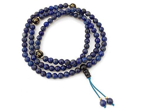 Agathe Creation CP22017-108 Mala – Rosario budista 108 cuentas – Perlas de lapislázuli naturales de 6 mm de diámetro – Nudo de la felicidad – Buda – Hecho a mano