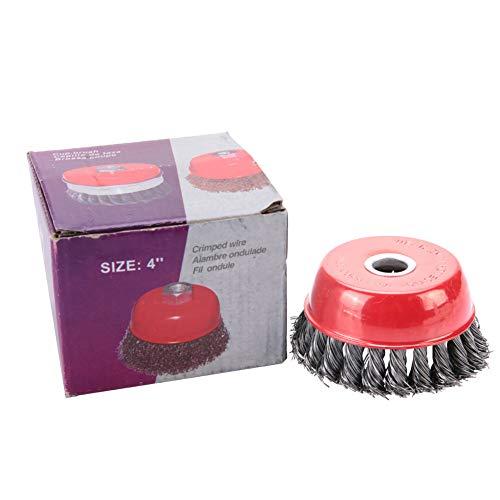 Cepillo de Acero para Amoladora, Cepillo de copa de rueda de alambre de acero de 100 16 mm Pulido para herramienta amoladora