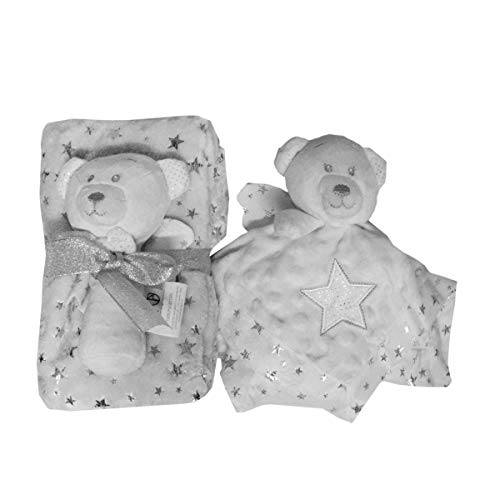 Russo Tessuti Set Idea Regalo Baby Copertina Pile Dou Dou Dudu Orsetto Sonaglino Argento -Grigio