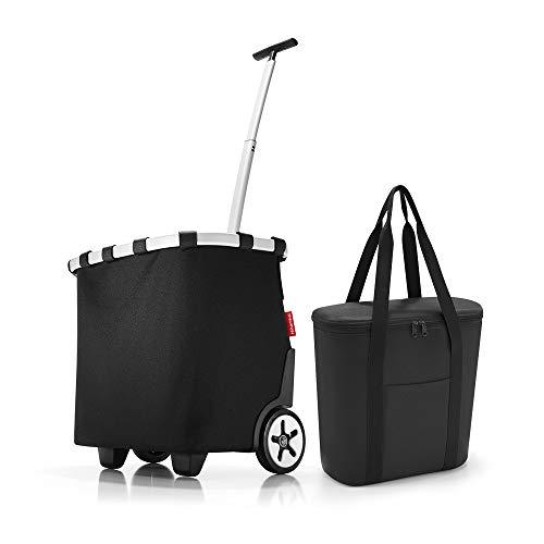 Set aus reisenthel carrycruiser, reisenthel thermoshopper, Einkaufstrolley mit Kühltasche, Black (7003)