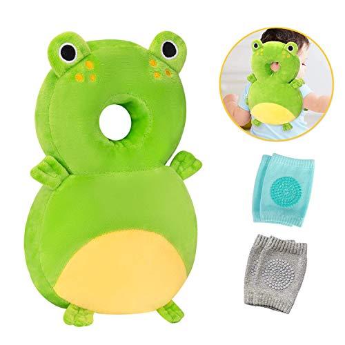 Protector de cabeza para bebés y rodilleras para gatear, almohadillas de seguridad para protección de la cabeza para bebés pequeños, mochila ajustable con cojín para bebé