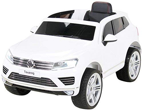 Actionbikes Motors Kinder Elektroauto VW Touareg Kinderfahrzeug Kinder Auto Ledersitz Eva Reifen (Weiß)