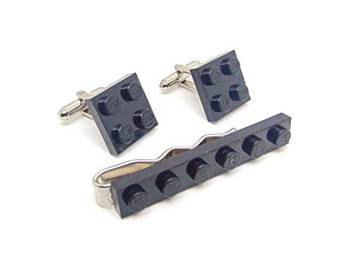Jeff Jeffers Ensemble pince à cravate et boutons de manchette compatibles Lego Noir