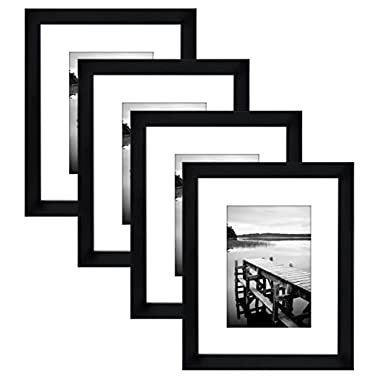 Americanflat 4-Pack, 8x10 Black Picture Frames - Made to Display Pictures 5x7 with Mats or 8x10 Without Mats
