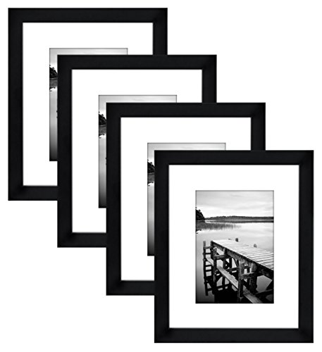 Americanflat 4 Piece 8x10 Black Picture Frame Set - Displays 5x7 With Mat and 8x10 Without Mat - Composite Wood with Shatter Resistant Glass - Horizontal and Vertical Formats for Wall and Tabletop