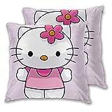 MISS-YAN Funda de cojín decorativa para cama, silla o sofá, diseño de Hello...
