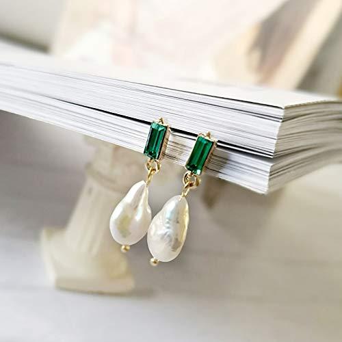 SALAN Grandi Orecchini Pendenti con Perle Barocche per Donna Orecchini Geometrici con Perle d'Acqua Dolce Autentiche Orecchini Pendenti in Cristallo Verde