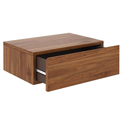 CARO-Möbel Wandregal Anne hängende Nachtkommode Wandboard Nachttisch mit 1 Schublade schwebend, grifflos, in nussbaum
