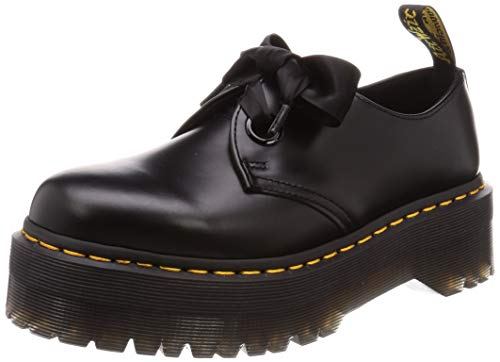 Dr. Martens Womens Holly Buttero Ribbon Black Lace Smooth Leather Shoes - Black - 8.5
