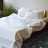 Brooklinen Luxe Core Sheet Set for Queen Size Bed, Solid White - 4 Piece Set (1 Fitted Sheet, 1 Flat Sheet + 2 Pillowcases)