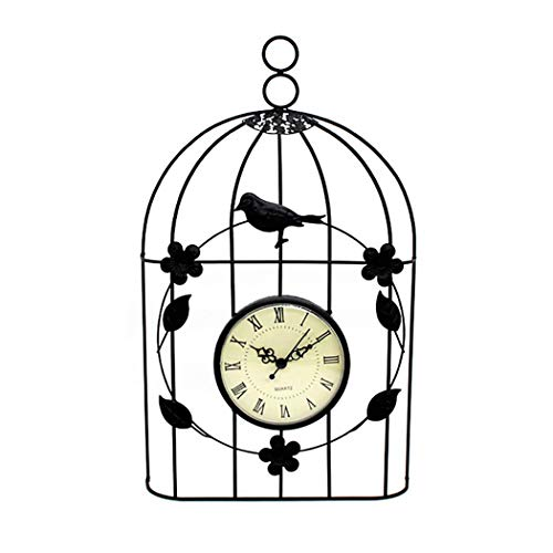 S.W.H Modern Retro Wall Clock Metal Iron Bird Cage Wall Clock Digital Home Decoration Garden Ornaments Outdoor
