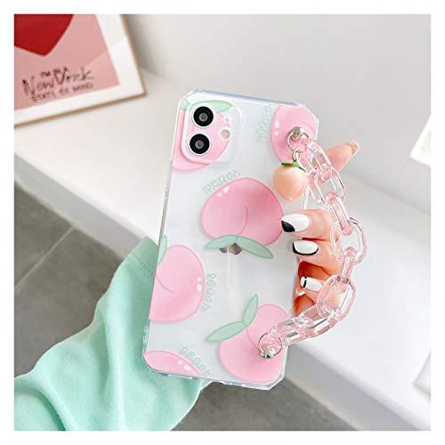 YLFC Custodia per Telefono da Polso con Cinturino Trasparente Rosa Pesca per iPhone 11 12 PRO Max X XS XR 7 8 Plus Cover Trasparente Carina (Color : A, Size : for iPhone SE2020)