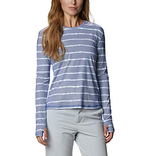 Columbia Women's Sun Deflector Summerdry Long Sleeve Shirt, Lapis Blue Tie Dye Stripe, Medium