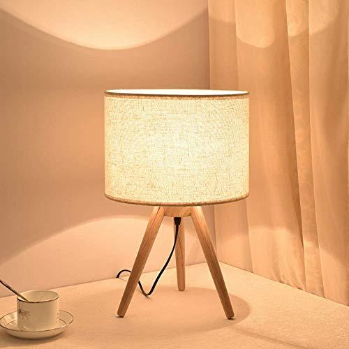 SYLOZ Lámpara de Mesa LED Simple White Ligh de Dormitorio de Madera Lámpara Decoración de Noche con luz de Noche