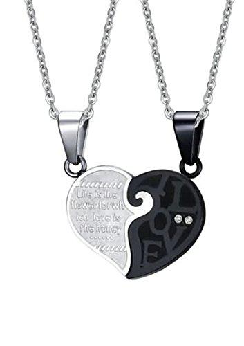 LOUMVE Puzzle Herz Edelstahl Halskette Modern Zirkonia Schwarz Weiß Love Halskette Anhänger für Paar