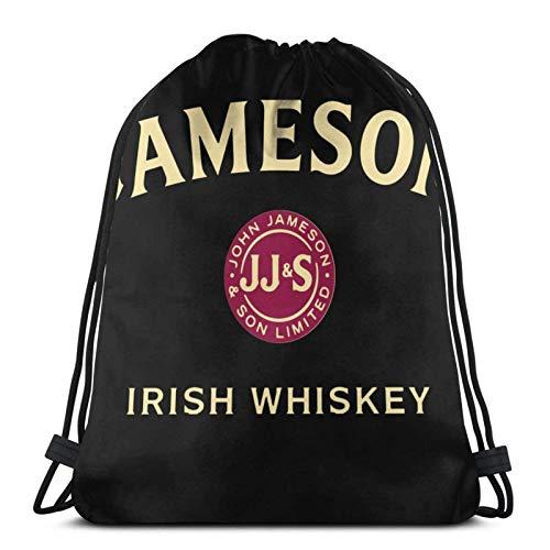 ANGSHI6 Bolsas de Cuerdas Bolsa con cordón Unisex Mochila Deportiva clásica Bolsa de Almacenamiento Bolsa de Viaje Jameson Irish Whiskey Logo PNG