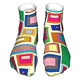 OUYouDeFangA Colorido Cuadrado Pintura Adulto Calcetines Algodón Gimnasio Calcetines Cortos Para Yoga Senderismo Ciclismo Correr De