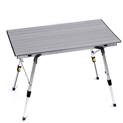 HUIQIN Mesa y sillas Plegables for Exteriores ultraligeras, Mesa de Picnic portátil de Aluminio, Mesa de Barbacoa