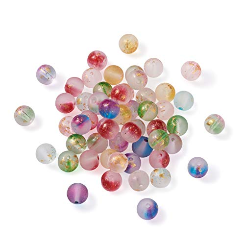 Beadthoven 414pcs 9 Colors Frosted Spray Painted Glass Beads 8-9mm Handcrafted Round Ball Loose Beads with Golden Foil for Bracelets Necklaces Jewelry Making Hole:1.2-1.5mm