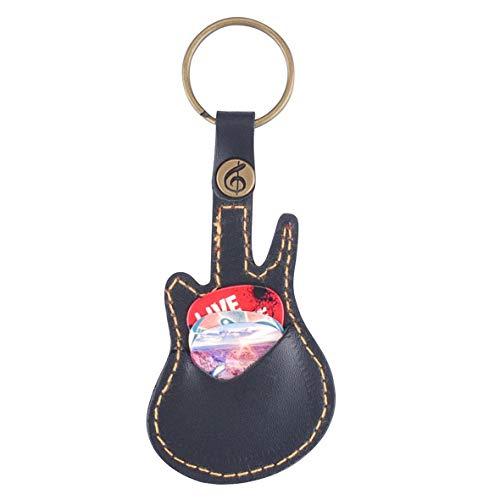 Heaviesk Schlüsselanhänger Lederpaddel Paket Kofferhalter für Plektren Gitarrenzubehör mit 5 Paddeln mit zufälliger Paddelgitarre