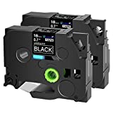 SuperInk 2 Pack Compatible for Brother TZ345 TZ-345 TZe345 TZe 345 White on Black Label Tape 0.7 inch 18mm(3/4') x 8m(26.2ft) Laminated P-Touch PTD600 PT-D400 PT-P710BT PT-E300 PT-E500 Label Maker