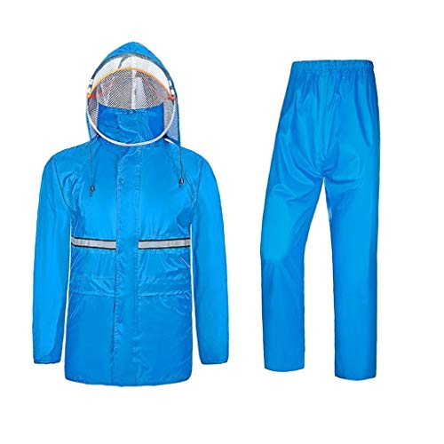 GUJOJO Men's Softshell Jacket Set With Detachable Double Caps | Breathable | Lightweight Jacket(Color:Blue,Size:L)