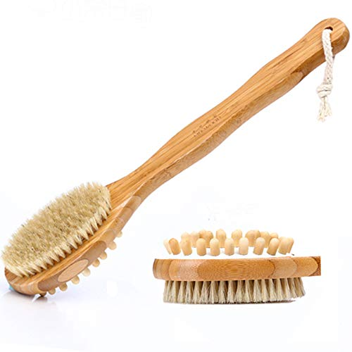 Sealive Wooden Bath Brush Bamboo Bath Brush for Back Scrubber,Soft Natural Bristles Back Brush with Long Handle for Exfoliating Skin & Wood Beads for Massage,Suitable for Kids Men Women