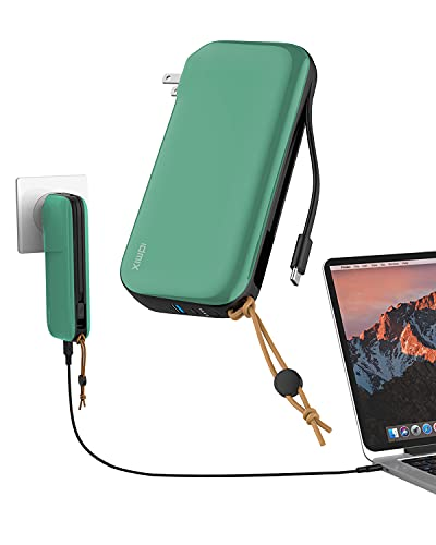IDMIX Portable Charger - 3-in-1 Power Bank, Portable Wall Charger & Built-in USB Type-C Cable - 20000mAh Capacity, Supports PD 65W Fast Charging - External Power Pack for Mobile, Phone, Laptop, Tablet