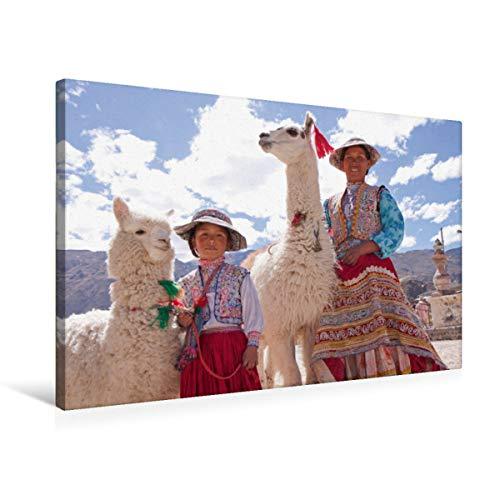 CALVENDO Premium Textil-Leinwand 75 cm x 50 cm quer Frau und Mädchen mit Lama und Alpaka | Wandbild, Bild auf Keilrahmen, Fertigbild auf echter Leinwand. Maca, Colca Canyon, Peru Orte Orte