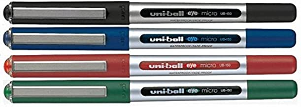 Uni-Ball UB-150 Liquid Ink Rollerball Pen - Fine 0.5mm Tip - Black, Blue, Green, Red - Pack of 4