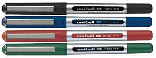 Uni-Ball Micro UB-150 Tintenroller, gemischte Farben, Schwarz, Blau, Rot, Grün, 4 Stück