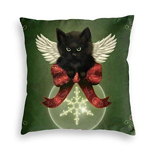 Lewiuzr Vintage Green Christmas Black Cat Xmas Square Throw Pillow Covers Decoraciones Funda de cojín 18X18 Pulgada