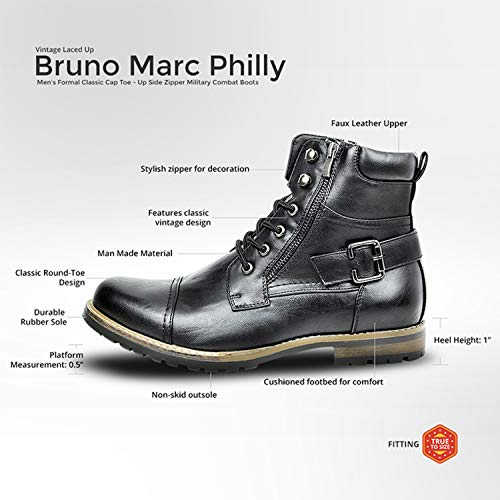 Bruno Marc Men's Philly-3 Black Military Combat Boots – 13 M US