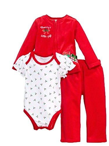 Combinaison bébé noël Veste Pantalon Body Outfit Girl Fille Rouge Inscription en allemand - Rouge -