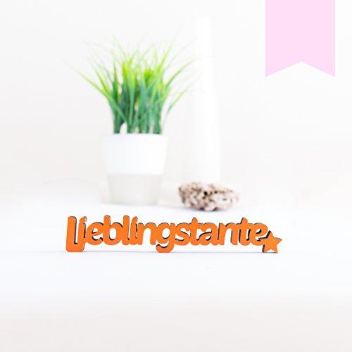 KLEINLAUT 3D-Schriftzug Lieblingstante in Größe: 10 x 1,7 cm - Dekobuchstaben - 32 Farben zur Wahl - Pastell Rosa