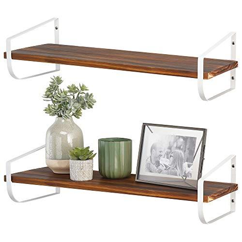 mDesign Moderna repisa de pared – Estante de madera alargado con soporte de metal resistente a la corrosión – Balda flotante para baño, cocina, despacho, dormitorio, etc. – blanco y natural