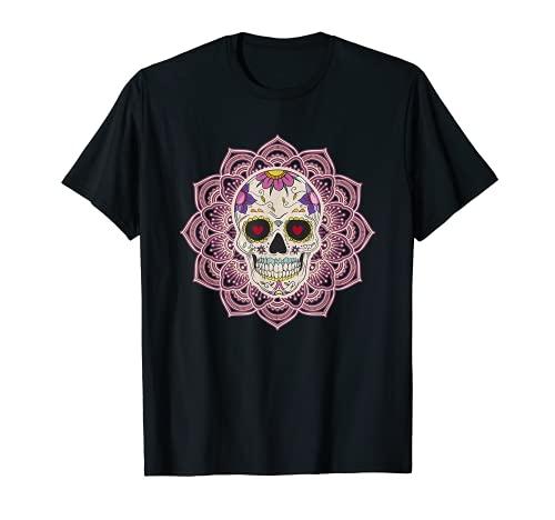 Mandala Corazón Ojos Azúcar Calavera Flores Día de los Muertos Camiseta