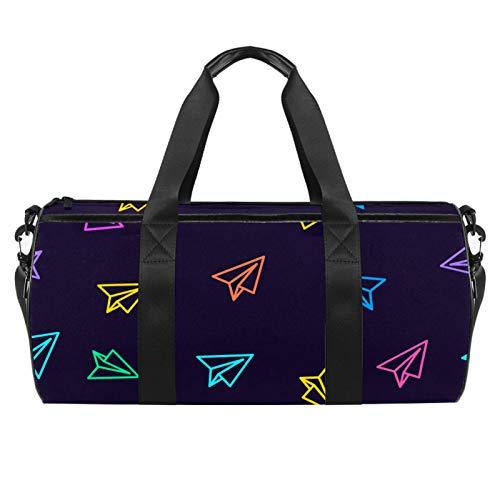 LAZEN Hombro Handy Sports Gym Bags Travel Duffle Totes Bag para Hombres Mujeres Avión de papel Rosy Yellow Blue Cartoon Navy Background