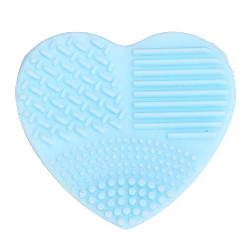 Silicone Brush Cleaner Pad Silicone Portable Outil De Lavage Maquillage Brosse De Nettoyage Tapis Nettoyeur Conseil(BLEU)
