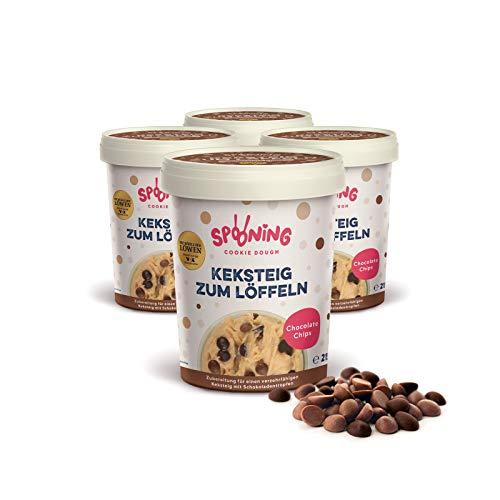 Original Spooning-Cookie-Dough – Keksteig zum Löffeln / Keksteigmischung – 4x 215G – Chocolate Chips