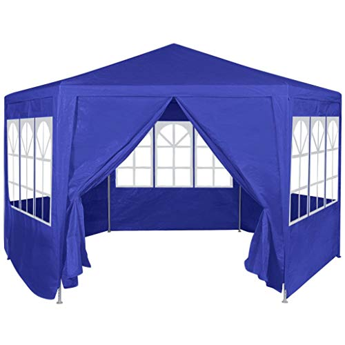 yorten Marquee Tent Gazebo Party Tent Large Sunshade with 6 Side Walls for Shows Parties Camping Trips Festivals Blue 2x2 m