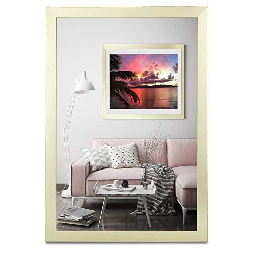 rahmengalerie24 Bilderrahmen 40x40 cm Rahmen Gold gebürstet Holz Acrylglas ohne Passepartout Portraitrahmen Fotorahmen Wechselrahmen für Foto oder Bilder MDF Dekorahmen ohne Bild Alice