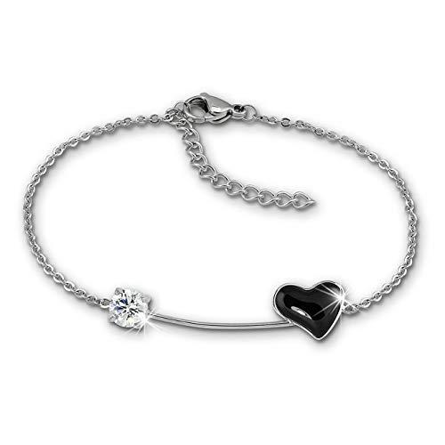 Amello Pulsera con corazón plateado y negro para mujer de acero inoxidable y cerámica ESAX40S8