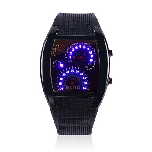 Fashion Aviation Speedometer Blue LED Wrist Watch Silver Dial Black