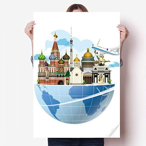 DIYthinker Rusland kathedraal van St Basil vliegtuig Vinyl muur Sticker Poster muurschildering behang kamer Decal 80X55Cm