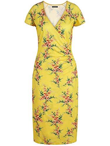 King Louie Damen Wickelkleid Cross Dress Nara (Sunny Yellow, XL)