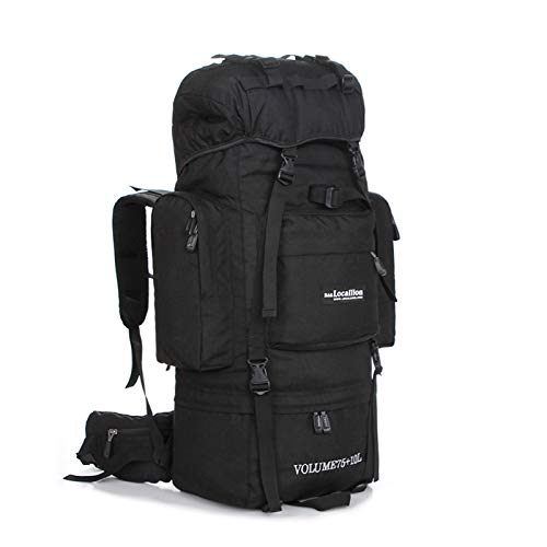 Mountaineering Backpack 75L, Extra Large Hiking Backpack, Ideal for Walking, Travelling, Trekking, Camping,Black